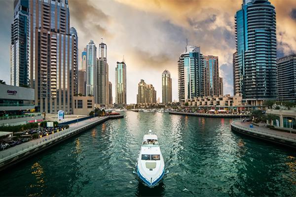 Dubai Marina solnedgang